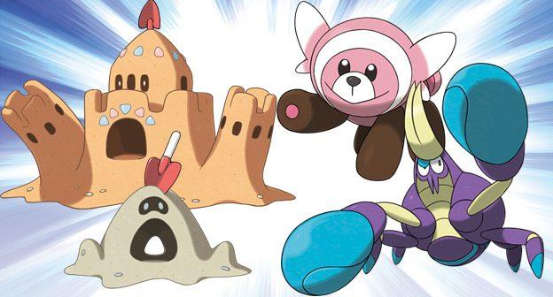 pokemon sun pokemon moon Crabrawler Stufful Sandygast Palossand